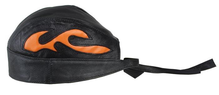 Motorrad Rocker Biker Leder Kopftuch, Bandana Headwrap Orange