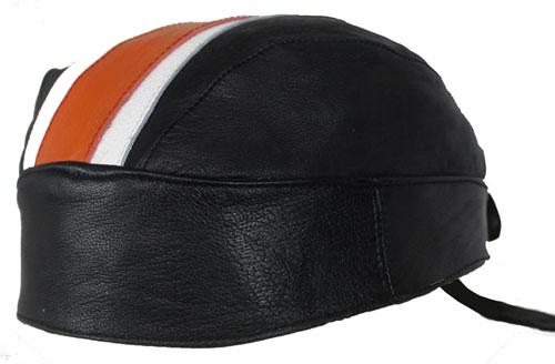 Motorrad Rocker Biker Leder Kopftuch, Bandana Headwrap Orange Weiss