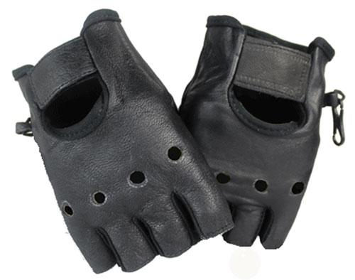 Halbfinger Schwarz Lammleder Handschuhe