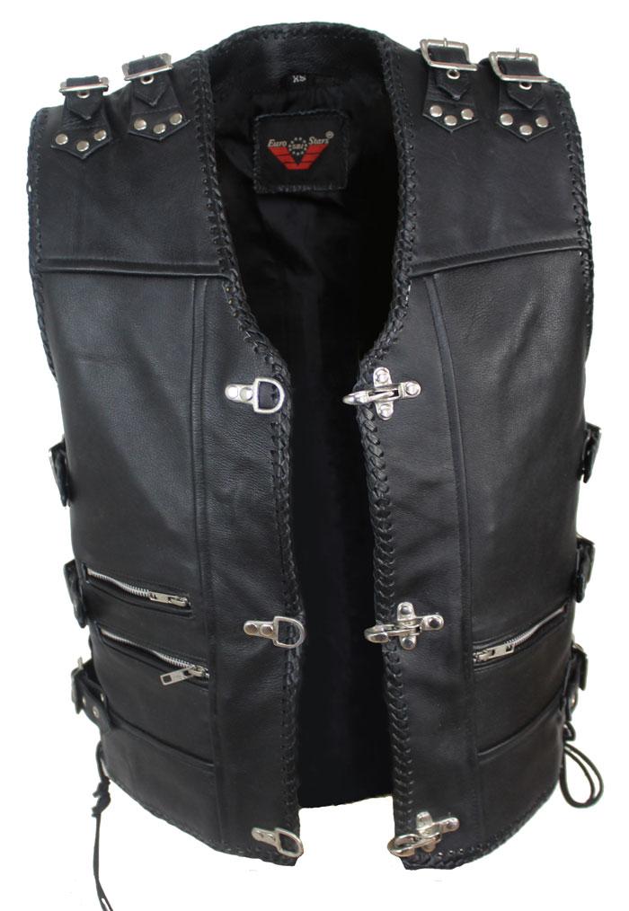 2-Schnallen Lederweste mit Seiten Schnür Schwarz