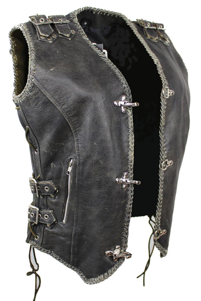 2-Schnallen Lederweste mit Seiten Schnür Braun