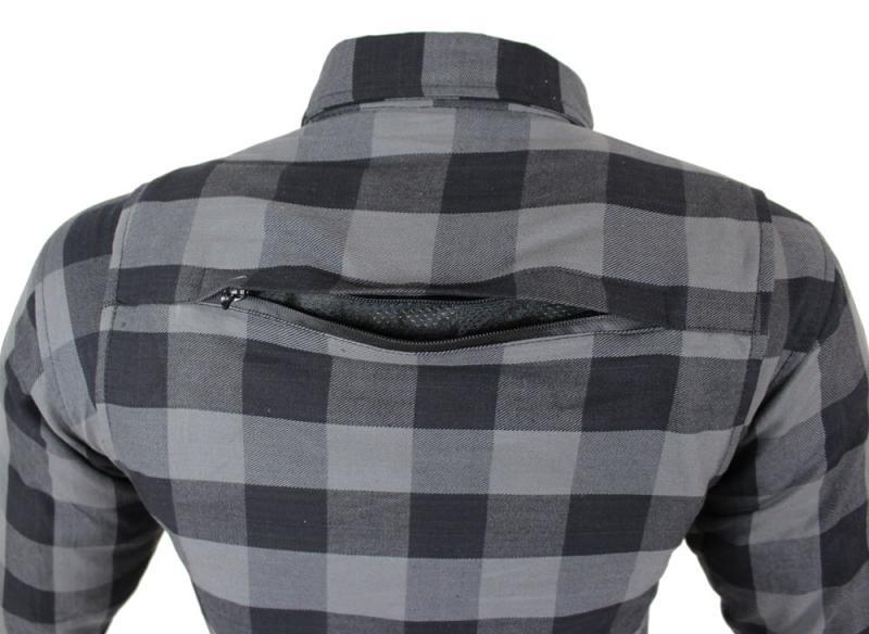 Flanell-Holzfäller Hemd Motorrad Hemd KEV ARAMID Shirt Lumber Biker Hemd Grau