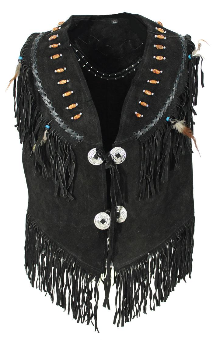 Country Kancho Wild Lederweste mit Perlen Schwarz