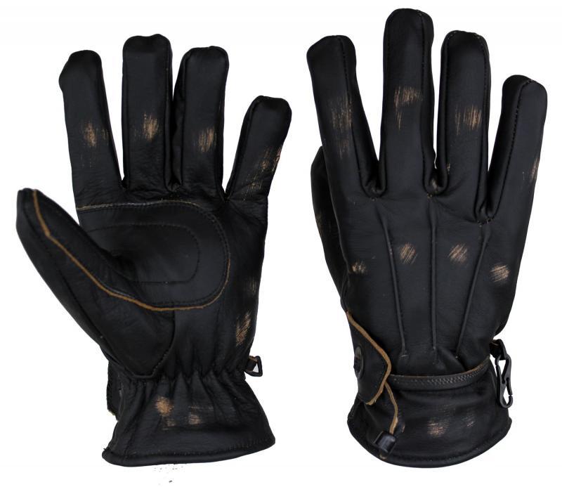 Lammleder Handschuhe Motorrad und Freizeit Antik Schwarz