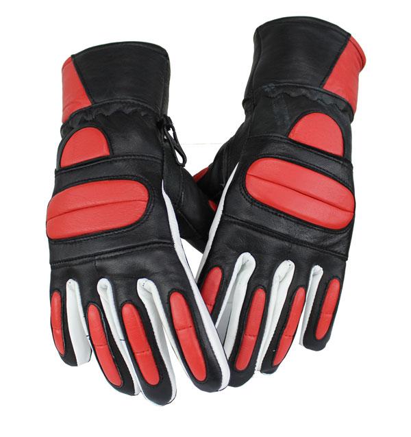 Motorrad und Biker Lammleder Handschuhe Rot