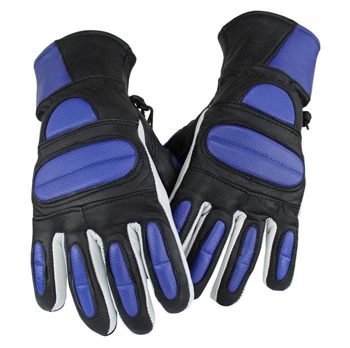 Motorrad und Biker Lammleder Handschuhe Blau