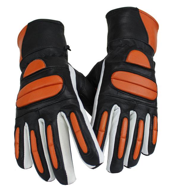 Motorrad und Biker Lammleder Handschuhe Orange