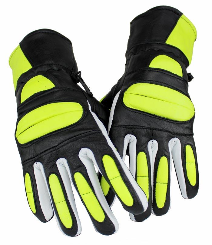 Motorrad und Biker Lammleder Handschuhe Grün