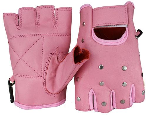 Halbfinger Nieten Lammleder Handschuhe Rosa