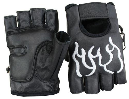 Halbfinger Flammen Weiss Lammleder Handschuhe