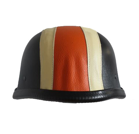 Leder German Orange Schwarz Stahl Helm Chopper Biker