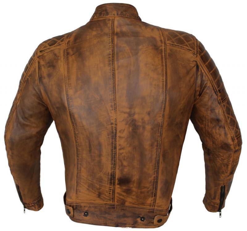 Leder Jacke Motorrad Jacke Biker Jacke Vancouver Braun