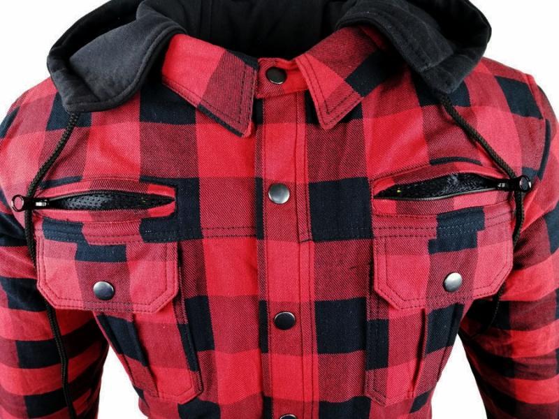 Flanell-Holzfäller Hemd Motorrad Hemd KEV ARAMID Shirt Lumber Biker Hemd Rot