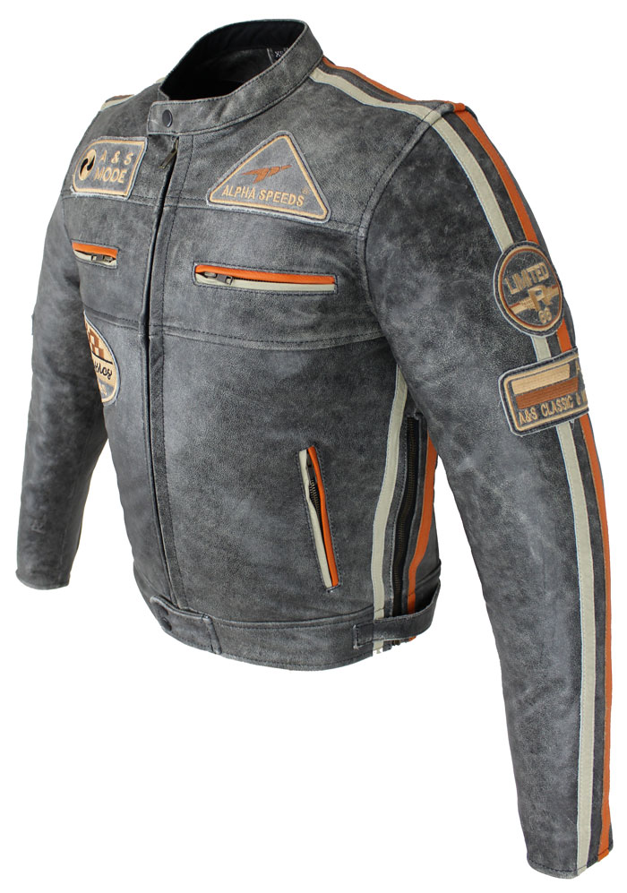 Lederjacke Motorrad Biker Jacke Freizeit Highway Cracker Grau