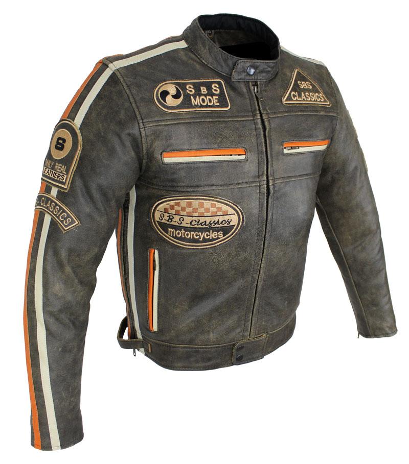 Motorrad Lederjacke Biker Jacke Freizeit Highway Cracker Braun