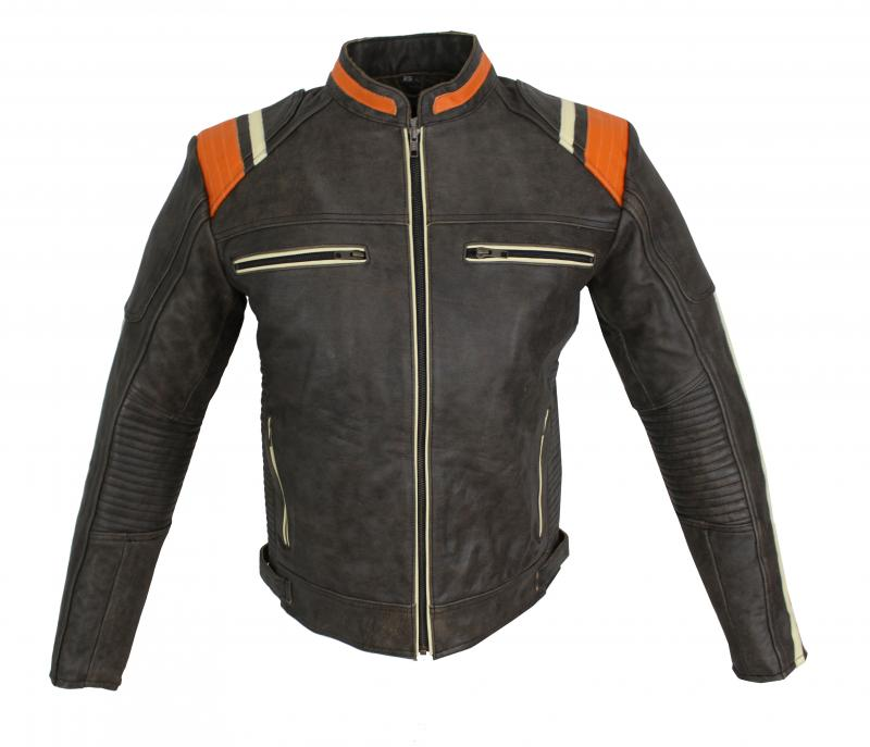 Leder Jacke Motorrad Custom Biker Jacke Galway Cracker Braun