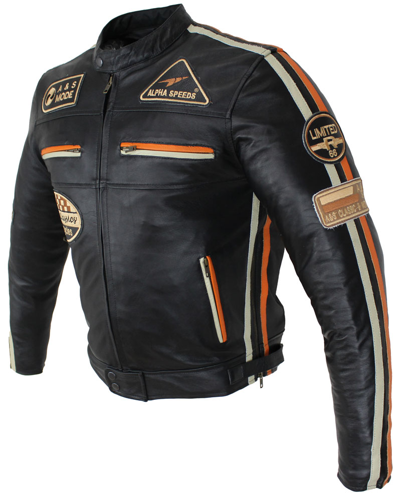 Lederjacke Motorrad Jacke Biker Jacke Highway 11 Schwarz