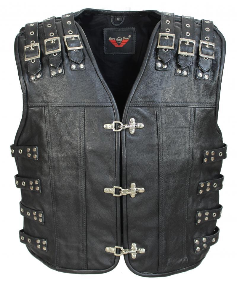 3-Schnallen Lederweste mit Seiten und Schulter Schwarz