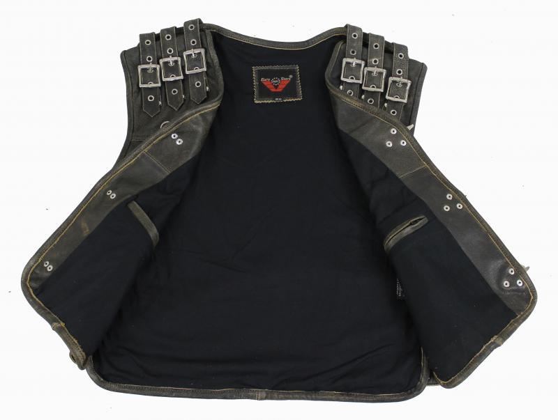 3-Schnallen Lederweste mit Seiten un Schulter Braun