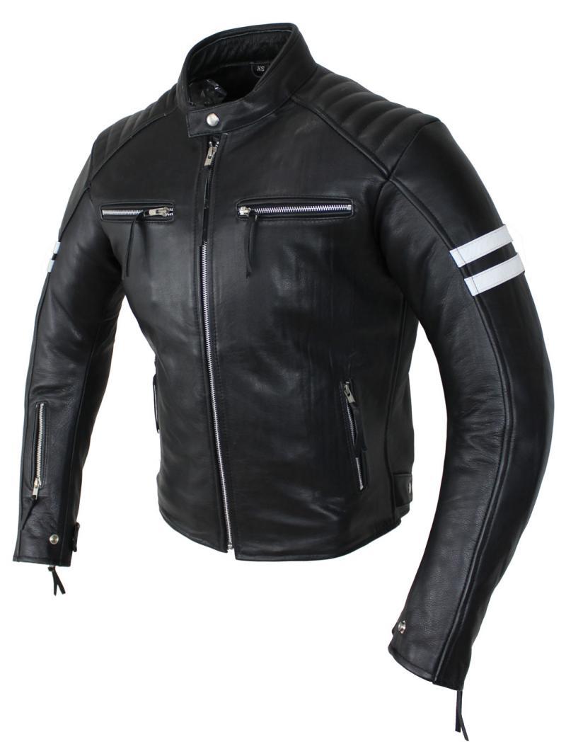 Motorrad Retro Rind Leder Jacke Schwarz