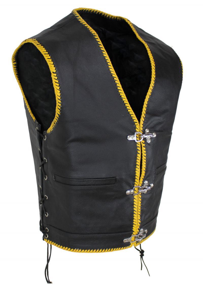 Biker Bon Pocket Lederweste Gelb Proi