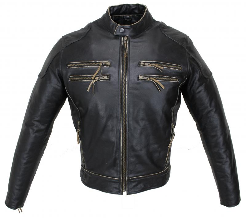 Motorrad Biker 2-Zipper Leder Jacke