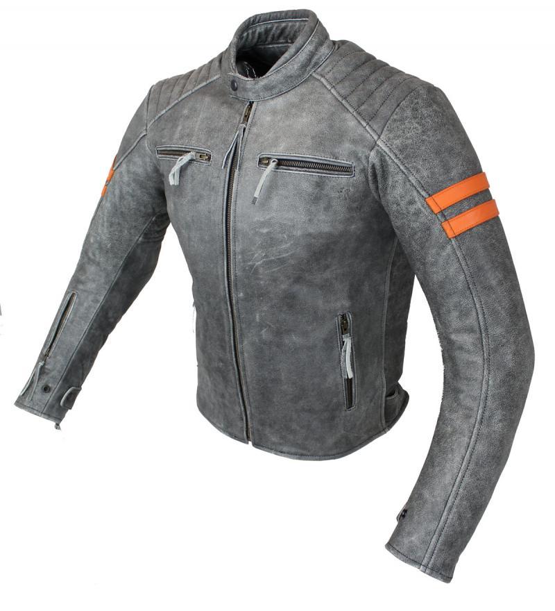 Motorrad Retro Rind Leder Jacke Grau