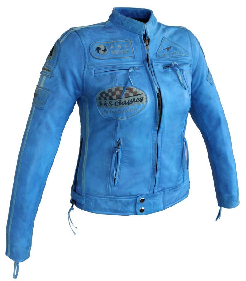 Damen Highway Motorrad Lamm Leder Jacke Blau
