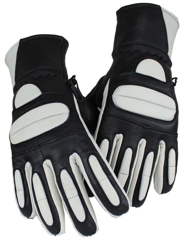 Motorrad und Biker Lammleder Handschuhe Weiß