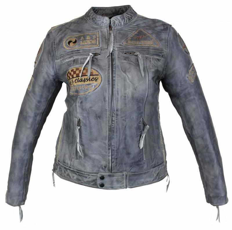 Damen Highway Motorrad Lamm Leder Jacke Grau