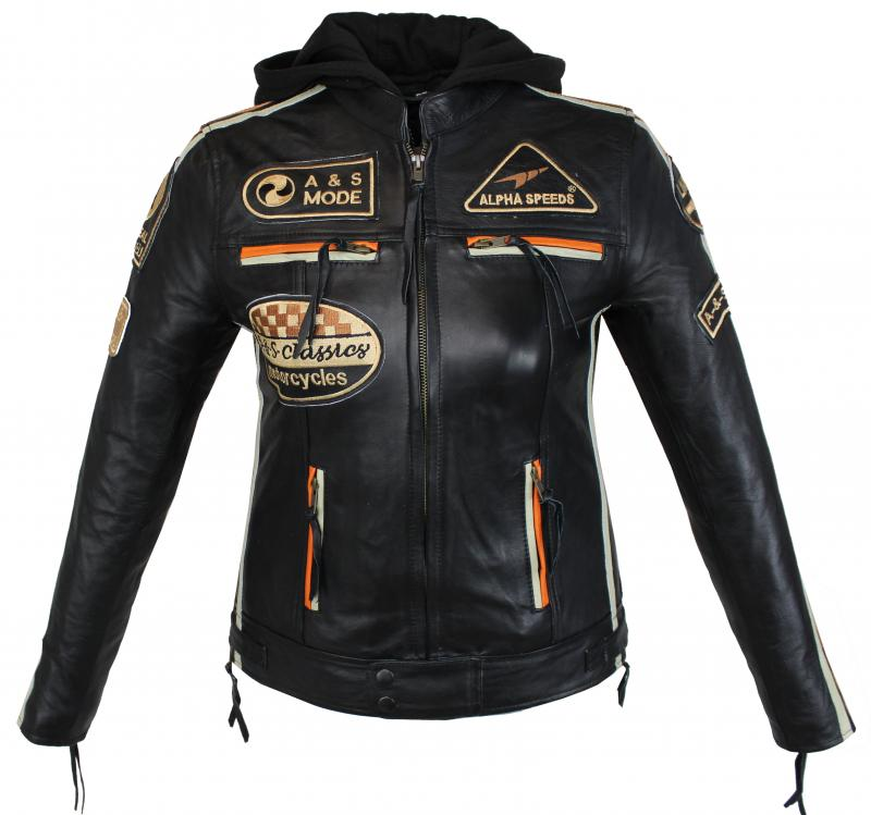Damen Highway Motorrad Lamm Leder Jacke Schwarz