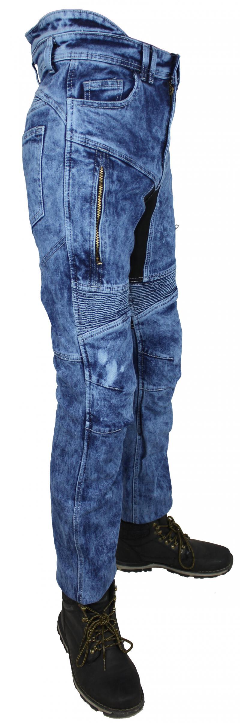 Motorrad Biker Jeans Hose Mit Kev Aramid Protektoren Blau