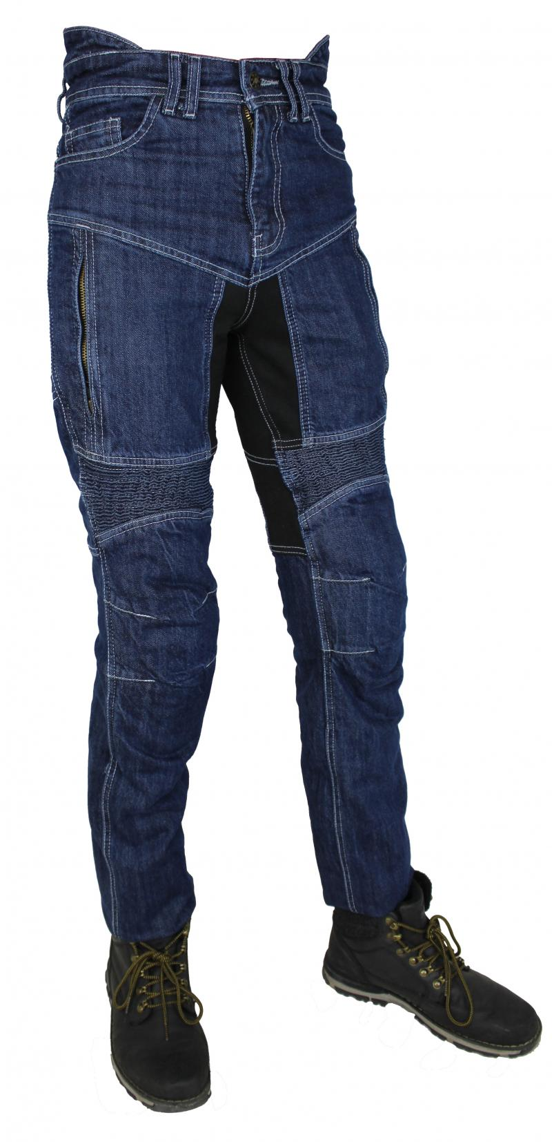 Motorrad Biker Jeans Hose Mit Kev Aramid Protektoren Navy Blau