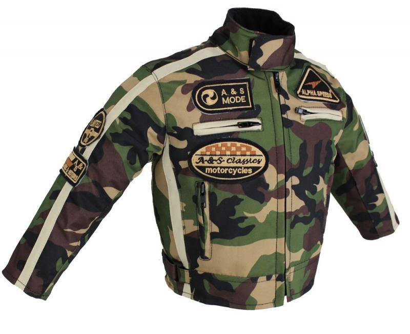 Kinder Motorrad Freizeit Biker Textil Camouflage  Jacke Custom Kids Jacket
