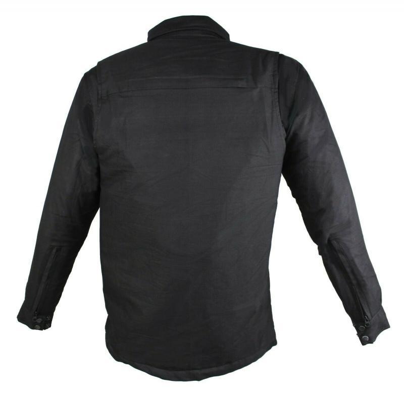 Flanell-Holzfäller Hemd Motorrad Hemd KEV ARAMID Shirt Lumber Biker Hemd Schwarz
