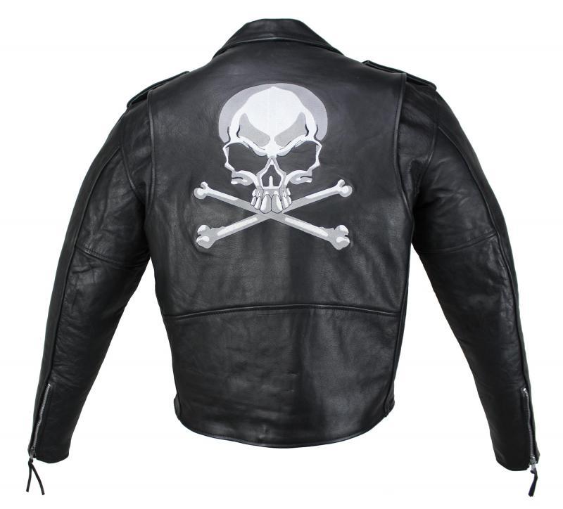 Lederjacke Freizeit Motorrad Jacke Biker Jacke Skull Classic Highway Schwarz