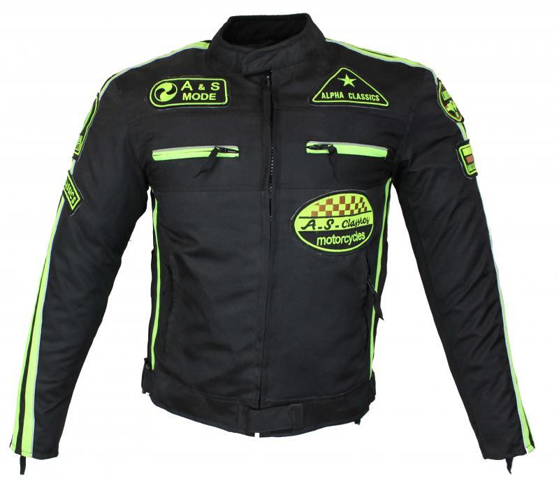 Motorrad Highway Textil Biker Jacke Schwarz Neon
