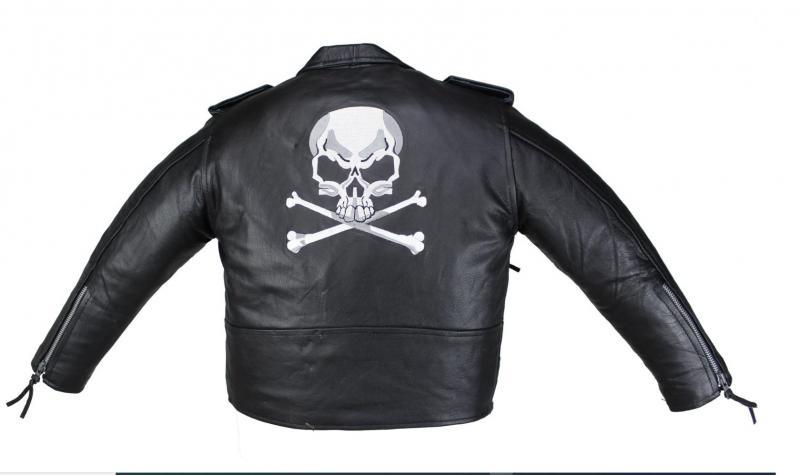 Kinder Motorrad Freizeit Biker Skull Leder Jacke