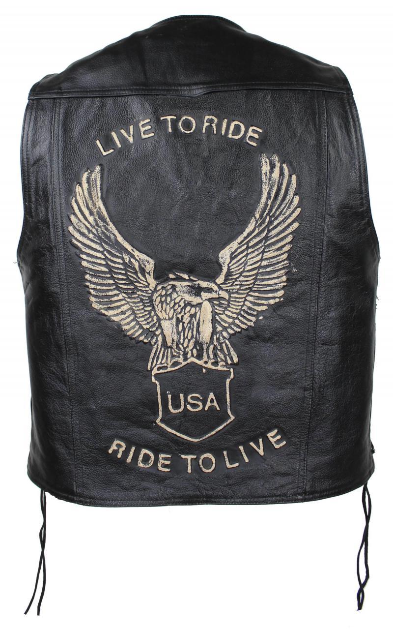 Lederkutte Herren Biker Weste Motorrad Kutte Lederweste Classic Ride to Live Schwarz