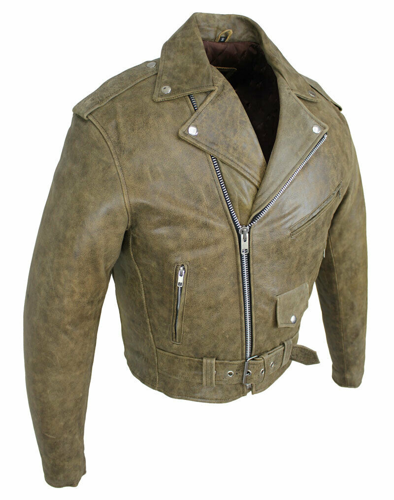 Lederjacke Freizeit Motorrad Jacke Biker Jacke Skull Classic Highway Cracker Braun