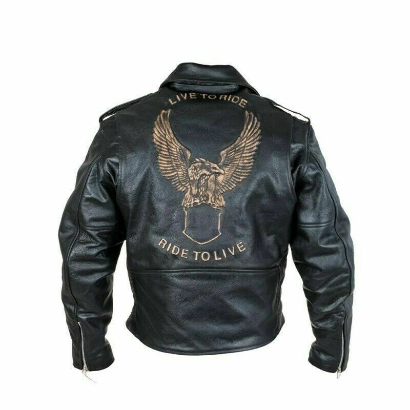 Lederjacke Freizeit Motorrad Jacke Biker Jacke Adler Classic Highway Schwarz