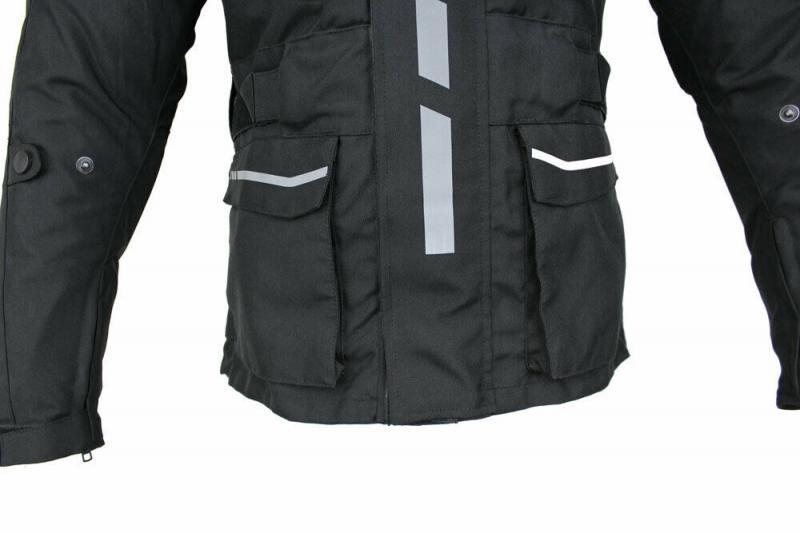 Herren Motorradjacke Textil Jacke Bikerjacke Polyester Sport Touring Jacke Protektoren Schwarz