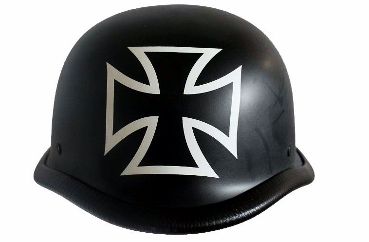 Iron Cross German Matt Schwarz Stahl Helm Chopper Harley Biker